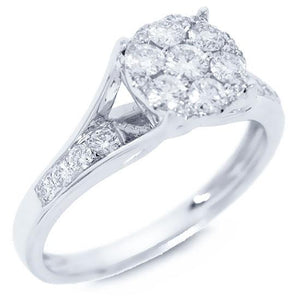 14k White Gold Diamond Lady's Ring - 0.64ct