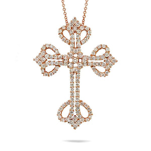 18k Rose Gold Diamond Cross Pendant - 1.94ct