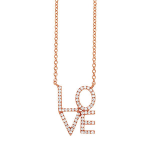 14k Rose Gold Diamond ''Love'' Pendant - 0.17ct