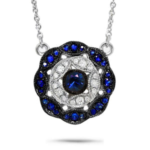 Diamond & 0.26ct Blue Sapphire 14k White Gold Necklace - 0.17ct