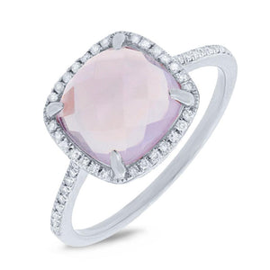 Diamond & 2.90ct Amethyst 14k White Gold Ring - 0.13ct