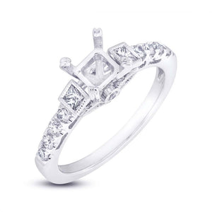 14k White Gold Diamond Semi-mount Ring - 0.39ct