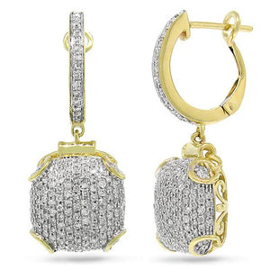 14k Yellow Gold Diamond Pave Earring - 0.93ct