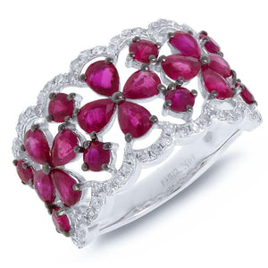 Diamond & 2.94ct Pink Sapphire 14k White Gold Ring - 0.36ct