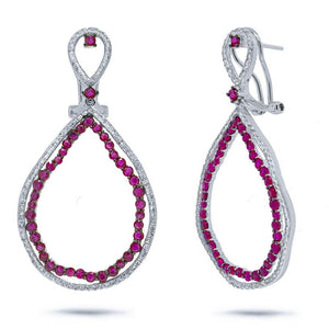Diamond & 3.09ct Ruby 14k White Gold Earring - 0.97ct