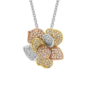 14k Three-tone Diamond Flower Pendant - 0.75ct