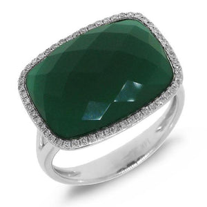 Diamond & 8.27ct Green Agate 14k White Gold Ring - 0.17ct