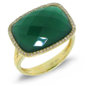 Diamond & 8.27ct Green Agate 14k Yellow Gold Ring - 0.17ct