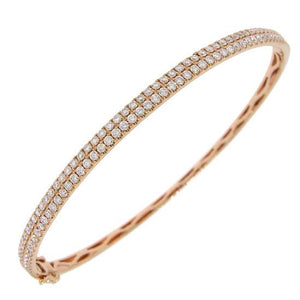 14k Rose Gold Diamond Bangle - 1.96ct