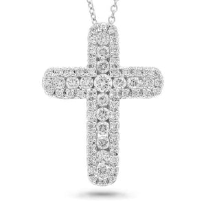 14k White Gold Diamond Cross Pendant - 0.60ct