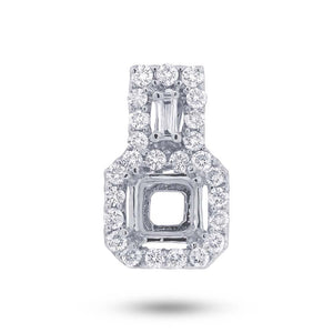 18k White Gold Diamond Semi-mount Pendant - 0.32ct