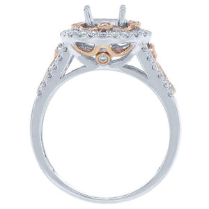 14k Two-tone Rose Gold Diamond Semi-mount Ring - 0.52ct