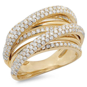 14k Yellow Gold Diamond Bridge Ring - 1.75ct