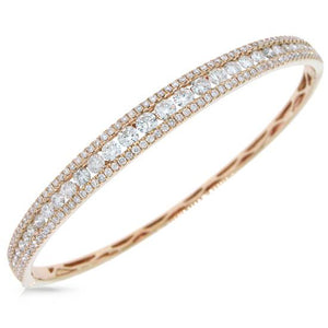 14k Rose Gold Diamond Bangle - 3.15ct