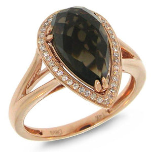 Diamond & Smokey Quartz 14k Rose Gold Ring - 0.11ct
