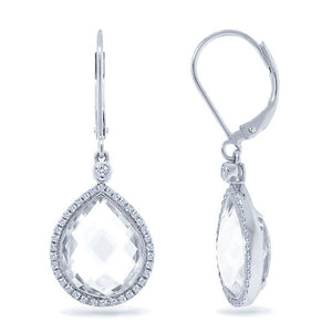 Diamond & 11.90ct White Topaz 14k White Gold Earring - 0.25ct