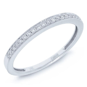 14k White Gold Diamond Lady's Band - 0.11ct