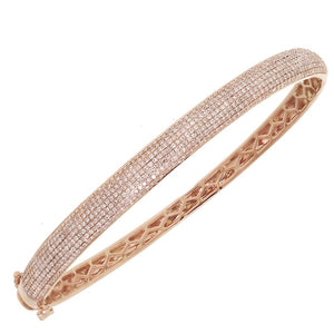 14k Rose Gold Diamond Pave Bangle - 1.54ct