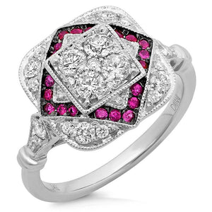Diamond & 0.21ct Ruby 14k White Gold Ring - 0.75ct