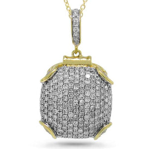 14k Yellow Gold Diamond Pave Pendant - 1.02ct