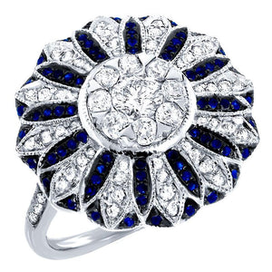 Diamond & 0.25ct Blue Sapphire 14k White Gold Ring - 0.84ct