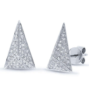 14k White Gold Diamond Pave Pyramid Earring - 0.34ct