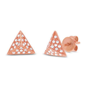 14k Rose Gold Diamond Pave Pyramid Earring - 0.16ct