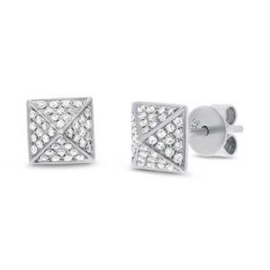 14k White Gold Diamond Pave Pyramid Earring - 0.18ct