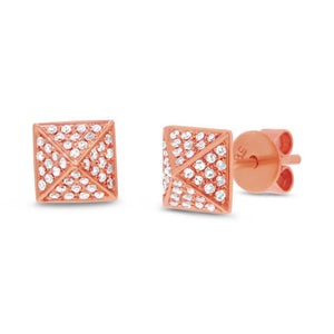 14k Rose Gold Diamond Pave Pyramid Earring - 0.18ct