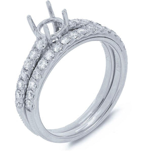 14k White Gold Diamond Semi-mount Ring - 0.66ct