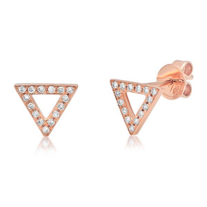 14k Rose Gold Diamond Triangle Earring - 0.10ct