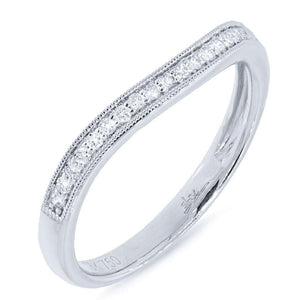 18k White Gold Diamond Lady's Curved Band - 0.15ct