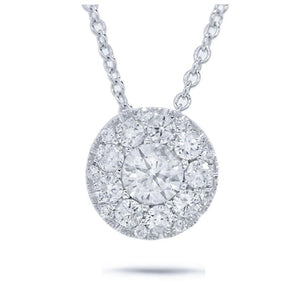 Round Brilliant Center and 0.15ct Side 14k White Gold Diamond Pendant - 0.17ct