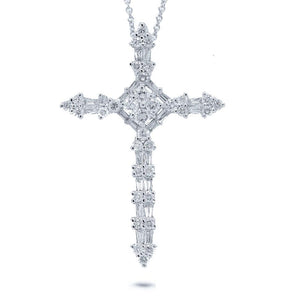 18k White Gold Diamond Cross Pendant - 1.17ct