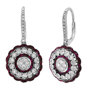 Diamond & 0.33ct Ruby 14k White Gold Earring - 0.72ct