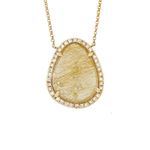Diamond & 10.93ct Golden Line Quartz 14k Yellow Gold Necklace - 0.28ct