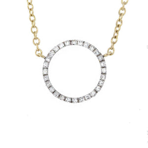 14k Yellow Gold Diamond ''O'' Pendant - 0.12ct