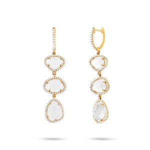 Diamond & 8.14ct White Topaz 14k Yellow Gold Earring - 0.72ct