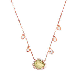 Diamond & 1.94ct Spectrolite 14k Rose Gold Necklace - 0.13ct