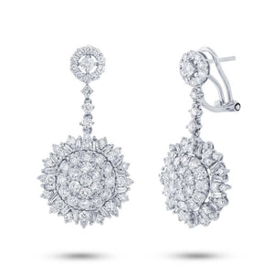 18k White Gold Diamond Earring - 3.65ct