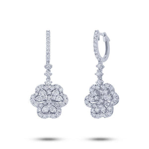 18k White Gold Diamond Clover Earring - 1.94ct