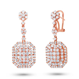 18k Rose Gold Diamond Earring - 3.32ct