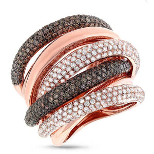 14k Rose Gold White & Champagne Diamond Bridge Ring - 3.49ct