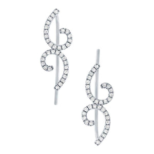 14k White Gold Diamond Ear Crawler Earring