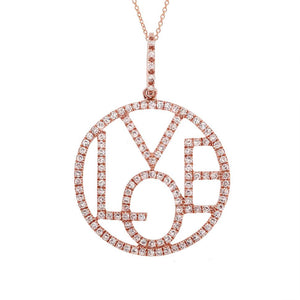 14k Rose Gold Diamond ''Love'' Pendant - 0.36ct