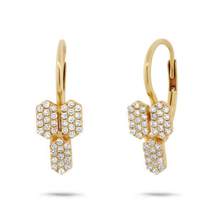 14k Yellow Gold Diamond Bar Earring