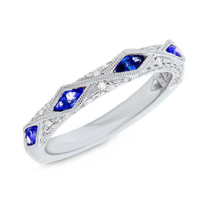 Diamond & 0.58ct Blue Sapphire 14k White Gold Lady's Ring - 0.33ct