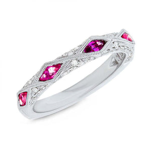 Diamond & 0.64ct Ruby 14k White Gold Lady's Ring - 0.33ct