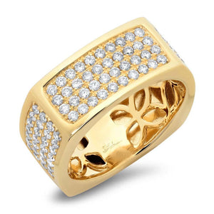 14k Yellow Gold Diamond Men's Ring - 1.62ct