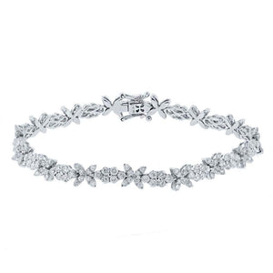 18k White Gold Diamond Round Invisible Lady's Bracelet - 5.04ct